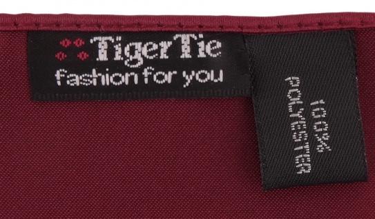 schöne TigerTie Satin Fliege + Einstecktuch bordeaux Uni einfarbig + Geschenkbox - Vorschau 2