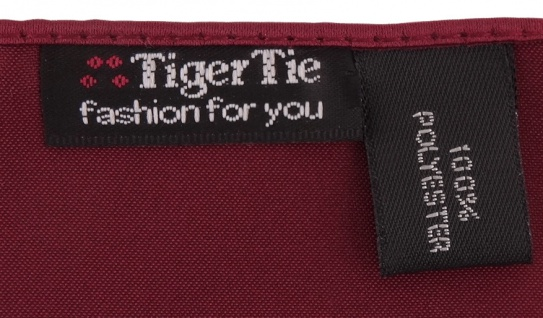 TigerTie Satin Fliege + TigerTie Einstecktuch in bordeaux Uni Einfarbig + Box 2