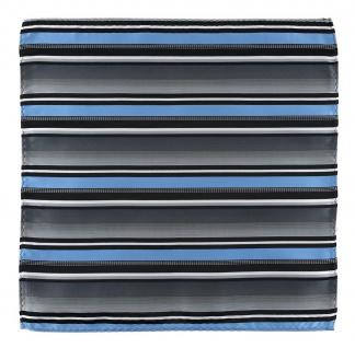 TigerTie Designer Einstecktuch in hellblau silber grau weiss schwarz gestreift - Vorschau 2