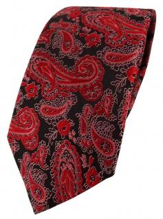 TigerTie Designer Krawatte in rot schwarz silber Paisley gemustert