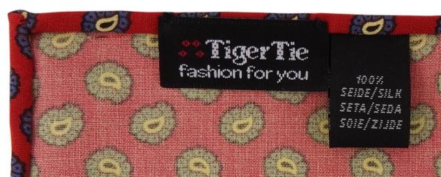TigerTie handrolliertes Seideneinstecktuch in rot blau gold schwarz Paisley - Vorschau 2
