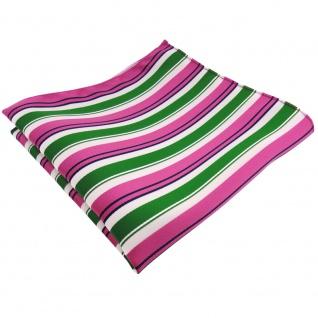 schönes Einstecktuch in pink grün weiß schwarz gestreift - Tuch 100% Polyester