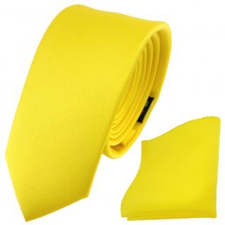 schmale TigerTie Satin Krawatte + Einstecktuch gelb leuchtgelb knallgelb Uni - Vorschau 2