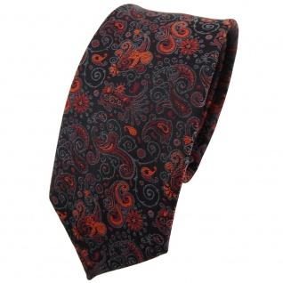 schmale TigerTie Krawatte orange braun schwarz grau gemustert Paisley - Binder