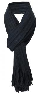 Schal in schwarz einfarbig mit Fransen - Schalgröße 170 x 35 cm