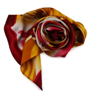 Damen Seidenschal rot bordeaux orange silber Motive - 160 x 35 - Halstuch Schal