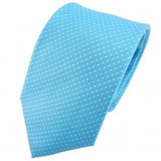 Hennes cologne Designer Seidenkrawatte türkis silber gepunktet - Krawatte Seide