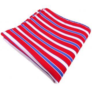 Einstecktuch rot verkehrsrot knallrot blau weiß gestreift - Tuch 100% Polyester - Vorschau