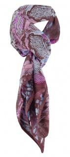 Designer Halstuch in lila magenta braun türkis gemustert - Größe 100 x 100 cm