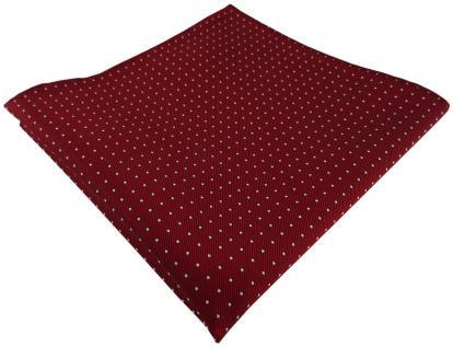 TigerTie Designer Seideneinstecktuch in rot bordeaux silber gepunktet - 30x30 cm