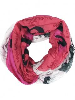 Lara & Anica limitierter Loop Schal rot rose schwarz grauweiss - Schlauchschal