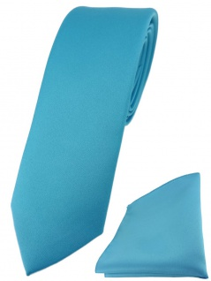 schmale TigerTie Designer Krawatte + Einstecktuch in türkis einfarbig uni