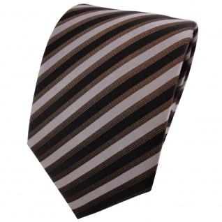 TigerTie Seidenkrawatte braun silber schwarz gestreift - Krawatte Seide Binder