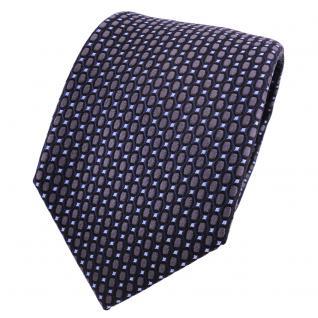 Designer Seidenkrawatte anthrazit grau blau schwarz gepunktet - Krawatte Seide