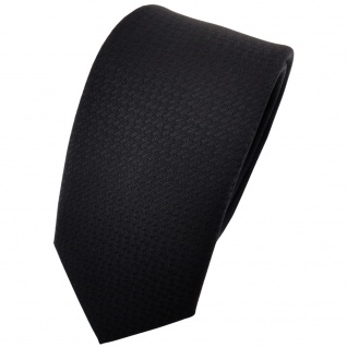 schmale TigerTie Designer Krawatte uni schwarz gemustert