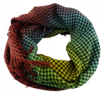 Halstuch in rotbraun gelb grün schwarz kariert mit Fransen - Größe 90 x 90 cm