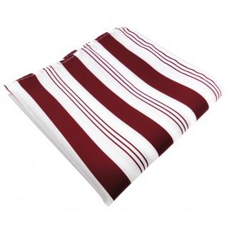 schönes Einstecktuch rot purpurrot weiß silber gestreift - Tuch 100% Polyester