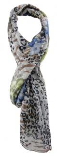 TigerTie Designer Schal in blau grün grau braun gemustert