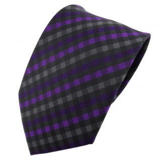 TigerTie Designer Krawatte lila violett anthrazit schwarz kariert - Schlips Tie