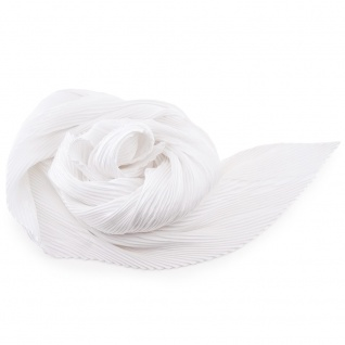 Damen Satin Raffschal dehnbar weiß ca. 80 x 70 cm - Tuch Halstuch Schal