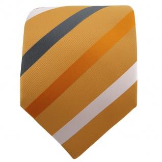 TigerTie Krawatte gelb dunkelgelb anthrazit weiß gestreift - Binder Schlips Tie - Vorschau 2