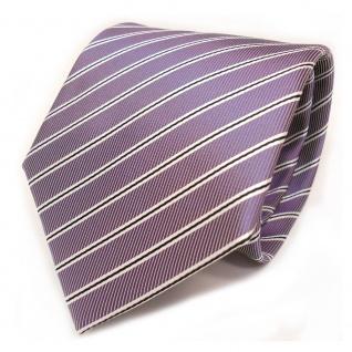 TigerTie Designer Krawatte - Schlips Binder lila schwarz weiss gestreift - Tie