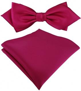 vorgebundene TigerTie Spitzfliege + Einstecktuch in pink Uni einfarbig + Box