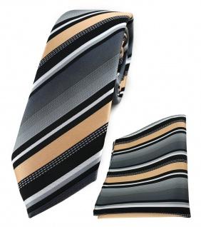 schmale TigerTie Krawatte + Einstecktuch in lachs grau weiss schwarz gestreift