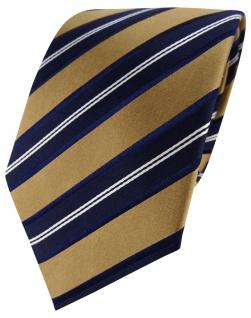TigerTie Designer Satin Seidenkrawatte gold braun blau gestreift- Krawatte Seide