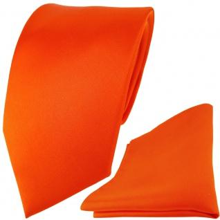 TigerTie Satin Seidenkrawatte + Seideneinstecktuch in orange einfarbig Uni - Vorschau