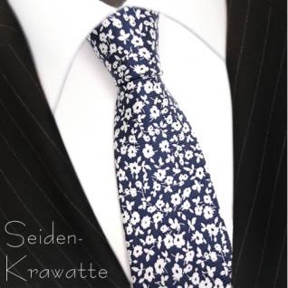 MEXX Krawatte Seide weiss blau mit Blumenmuster
