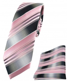 schmale TigerTie Krawatte + Einstecktuch rosa hellrosa silber grau gestreift