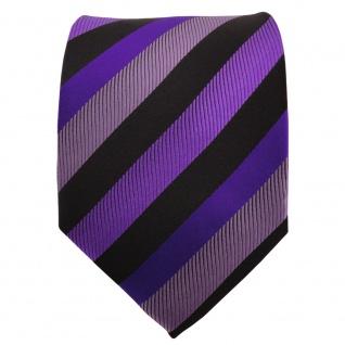 Schicke Krawatte lila dunkellila violett schwarz gestreift - Tie Binder - Vorschau 2