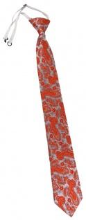 TigerTie Security Sicherheits Krawatte in orange silber Paisley gemustert
