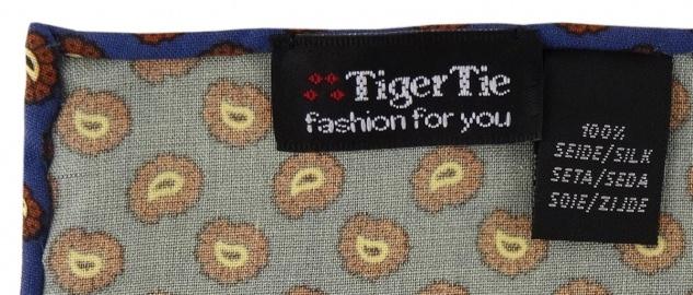 TigerTie handrolliertes Seideneinstecktuch in blau braun schwarz gold Paisley - Vorschau 2