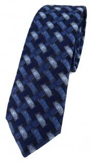 schmale TigerTie Designer Krawatte blau marine dunkelblau - Motiv Flechtmuster