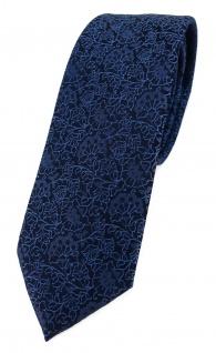 TigerTie - schmale Designer Krawatte in blau marine dunkelblau florales Muster