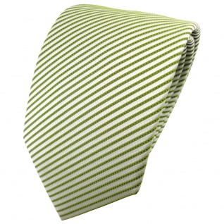 schöne TigerTie Designer Krawatte maigrün weißgrün gestreift - Binder Cravate