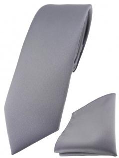 schmale TigerTie Designer Krawatte + Einstecktuch in silbergrau einfarbig uni