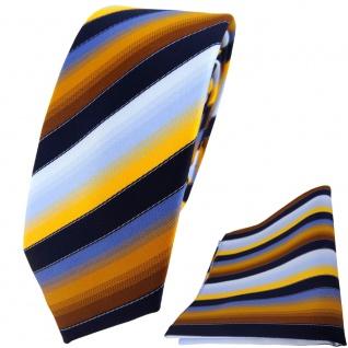 schmale TigerTie Krawatte + Einstecktuch gelb orange kupfer blau gestreift