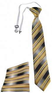 TigerTie Security Sicherheits Krawatte +Einstecktuch gold silber grau gestreift