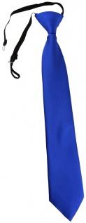 TigerTie Kinderkrawatte blau royal Uni - Krawatte vorgebunden mit Gummizug