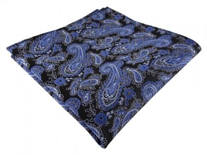 TigerTie Designer Einstecktuch in blau schwarz silber Paisley - Gr. 30 x 30 cm