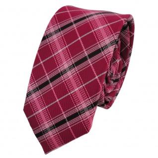 Schmale TigerTie Designer Krawatte rot signalrot silber schwarz kariert - Tie