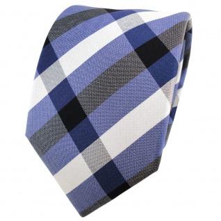 TigerTie Seidenkrawatte blau royal schwarz silber kariert - Krawatte Seide Tie