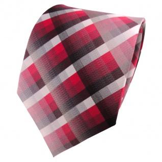 TigerTie Seidenkrawatte rot bordeaux silber grau kariert - Krawatte Seide Silk