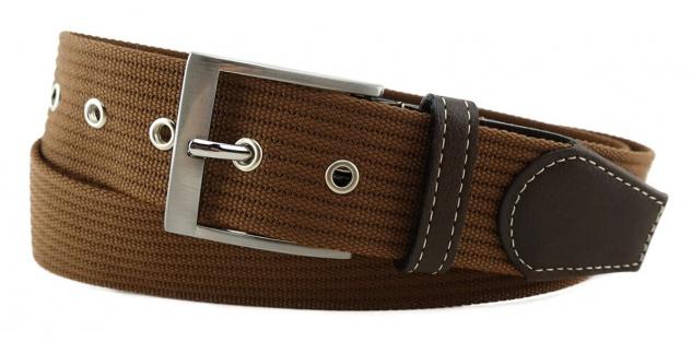 TigerTie - Stoffgürtel in braun mittelbraun einfarbig - Bundweite 120 cm