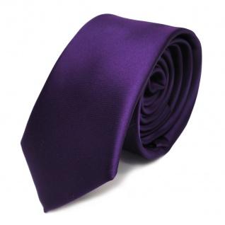 schmale TigerTie Satin Krawatte dunkles lila violett uni 100 % Polyester
