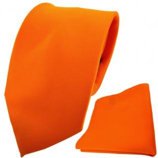 TigerTie Designer Krawatte + Einstecktuch orange pastellorange einfarbig