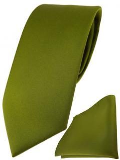 TigerTie Designer Krawatte + TigerTie Einstecktuch in farngrün einfarbig uni
